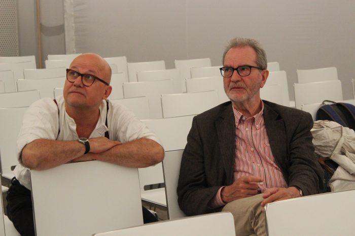 Wolfgang Georgsdorf und Edgar Reitz vor der Veranstaltung. © Ramona Schuster und Wiebke Jann