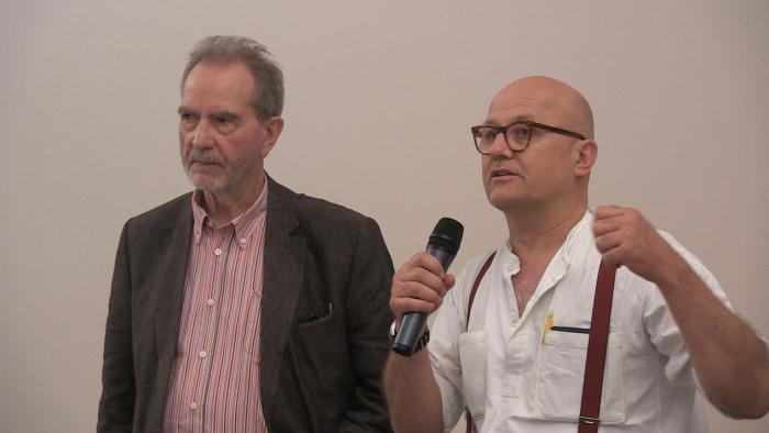 Der Regisseur Edgar Reitz und Wolfgang Georgsdorf im Gespräch.