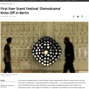 """First Ever Scent Festival 'Osmodrama' Kicks Off in Berlin"" in: BLOUIN ARTINFO (english)"