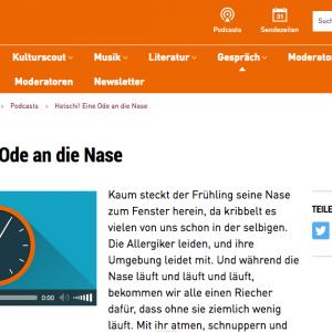 """""""Hatschi! Eine Ode an die Nase"""" in: hr2 kultur (deutsch)"""
